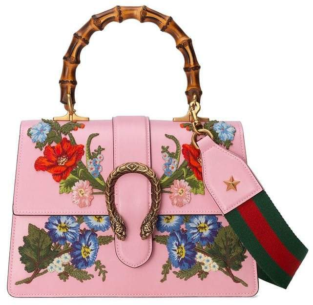 Dionysus embroidered leather top handle bag