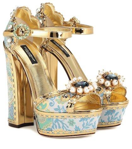 Embellished plateau sandals