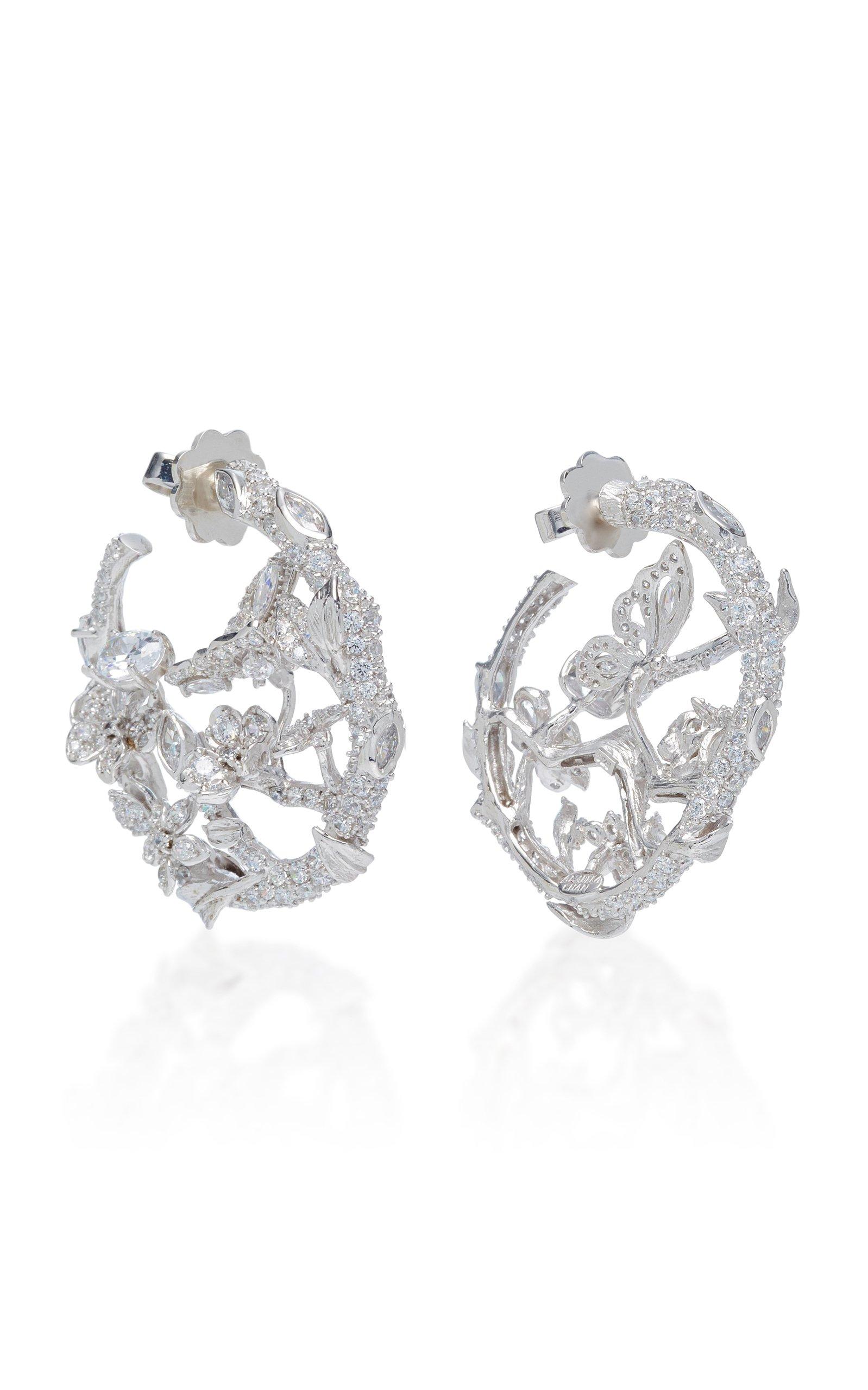 Anabela Chan 18K White Gold Vermeil Diamond English Garden Earrings