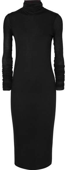 Stretch-jersey Turtleneck Midi Dress - Black