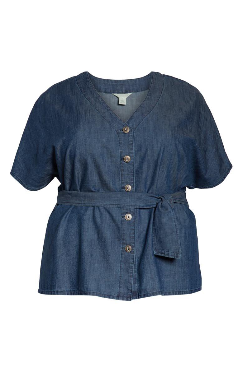 Caslon® Button-Up Tie Front Blouse (Plus Size) | Nordstrom