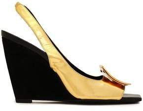 Metallic Leather Wedge Slingback Sandals