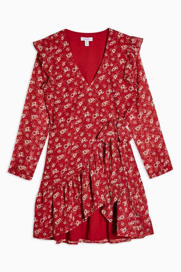 Floral Dobby Ruffle Mini Dress | Topshop