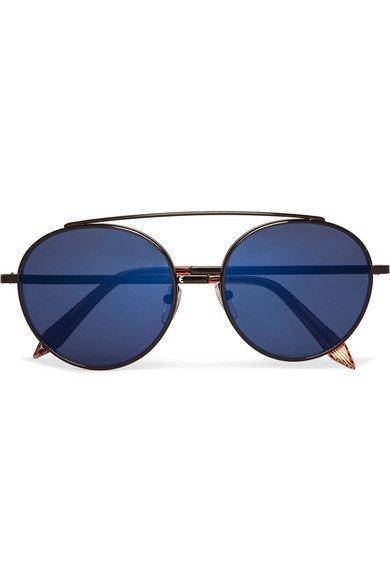 Victoria Beckham   Round-frame metal mirrored sunglasses   NET-A-PORTER.COM