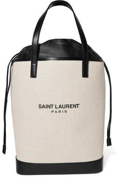 Teddy Leather-trimmed Printed Canvas Tote - Off-white