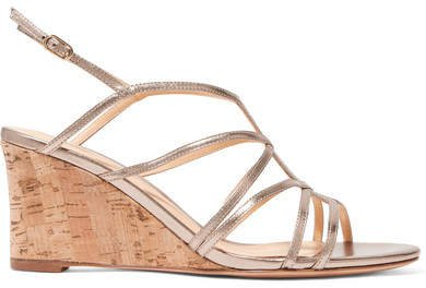 Paolla Metallic Leather Wedge Sandals - Gold