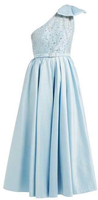 Crystal Bodice One Shoulder Cotton Blend Gown - Womens - Light Blue