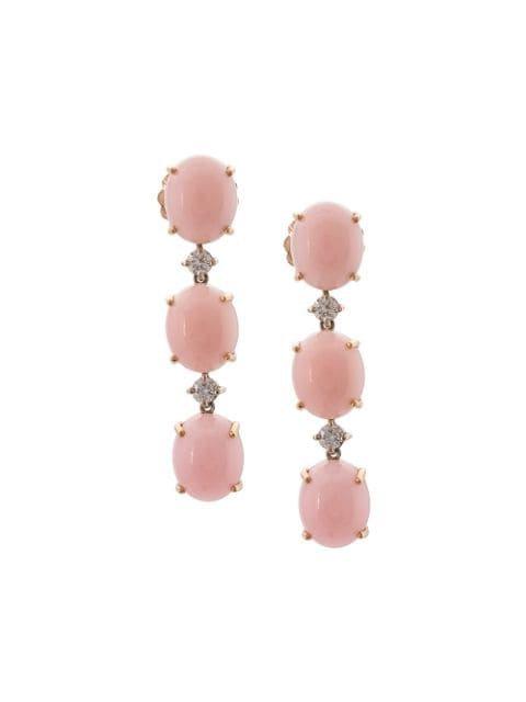 Irene Neuwirth 18kt Rose Gold Pink Opal And Diamond Drop Earrings - Farfetch