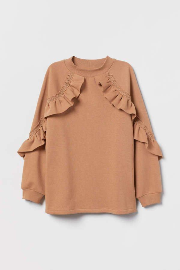 Sweatshirt with Flounce - Beige