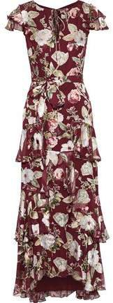 Jenny Tiered Floral-print Fil Coupe Chiffon Maxi Dress