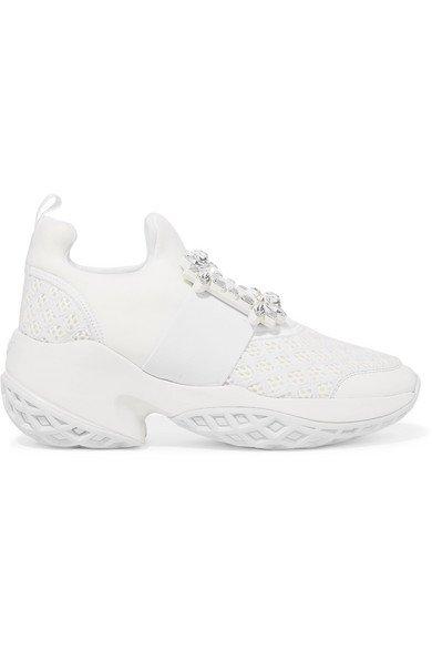 Roger Vivier | Viv Run crystal-embellished neoprene, mesh and leather slip-on sneakers | NET-A-PORTER.COM