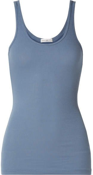 The Daily Ribbed Stretch-supima Cotton Tank - Blue
