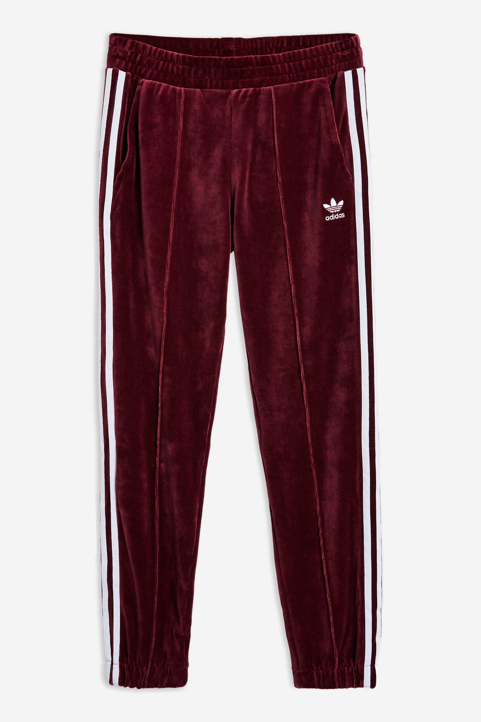 Velour Trackpants by adidas   Topshop