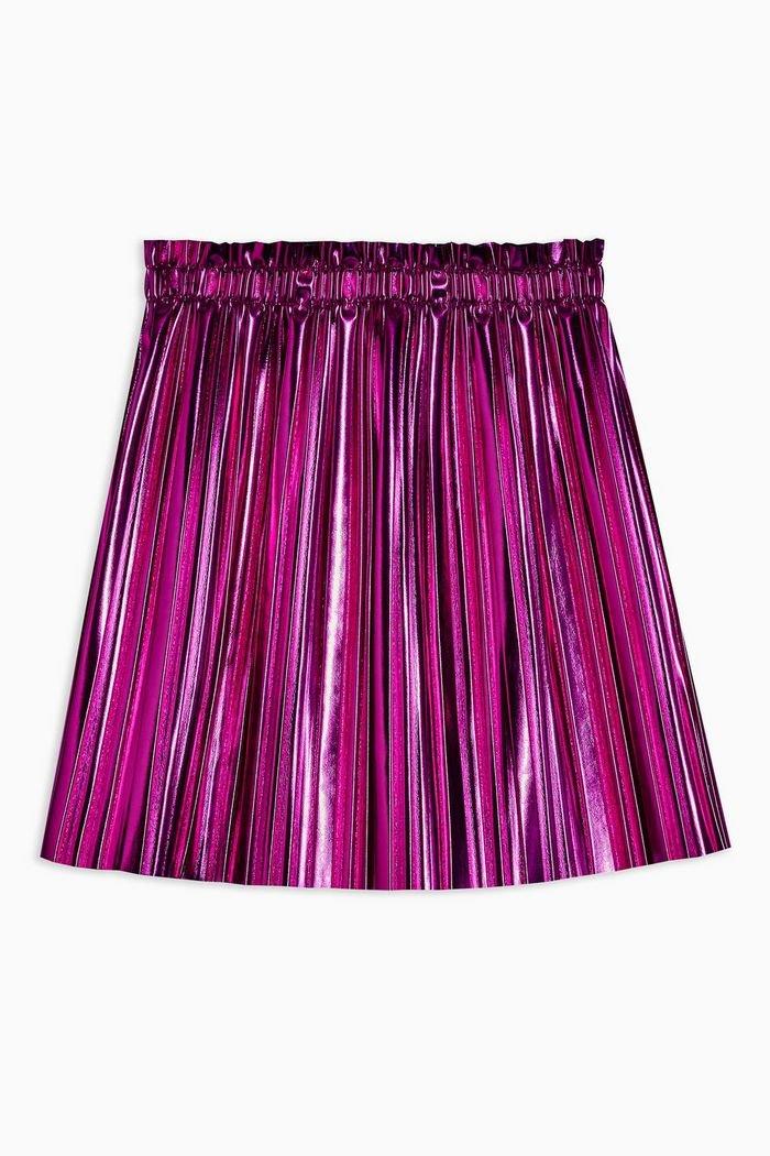 Pink Metallic Pleated PU Mini Skirt | Topshop