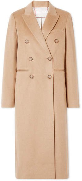 Double-breasted Wool Coat - Camel