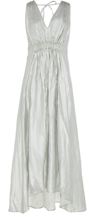 White Operato Ruched Linen Midi Dress