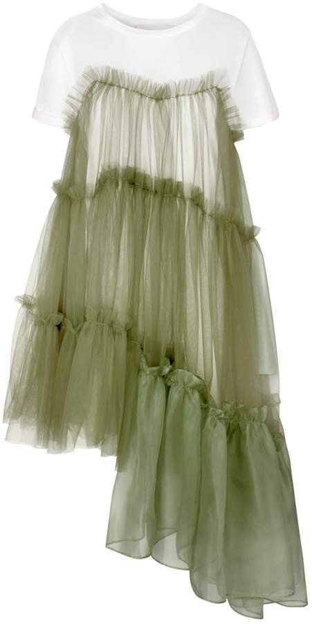 IN.NO - Raven Jersey Tulle Organza Army Dress