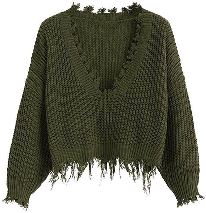 DEZZAL Women's Loose Long Sleeve V-Neck Ripped Pullover Knit Sweater Crop Top (Army Green) at Amazon Women's Clothing store: