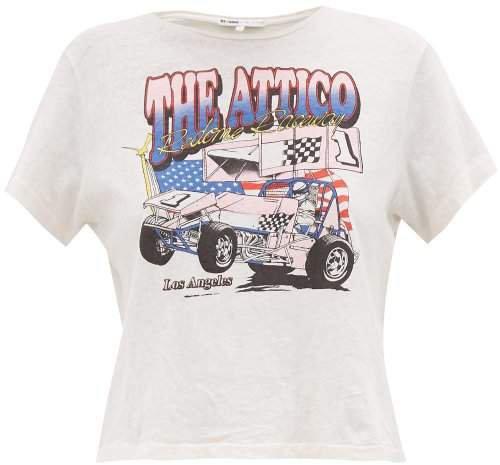 X The Attico Logo Print Cotton T Shirt - Womens - White Multi