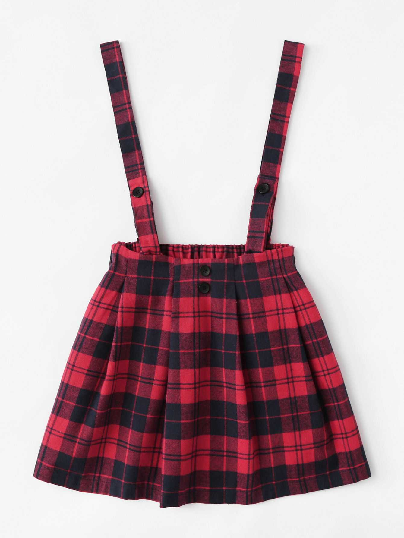 Checked Pleated Pinafore Skirt - romwe