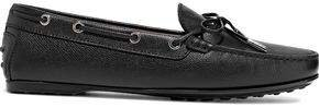 Bow-detailed Pebbled-leather Loafers