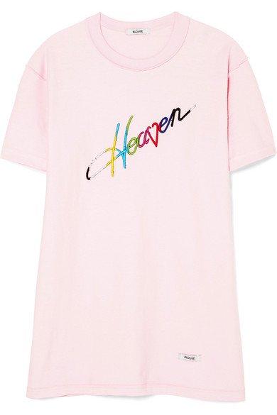 BLOUSE | Heaven embroidered cotton-jersey T-shirt | NET-A-PORTER.COM
