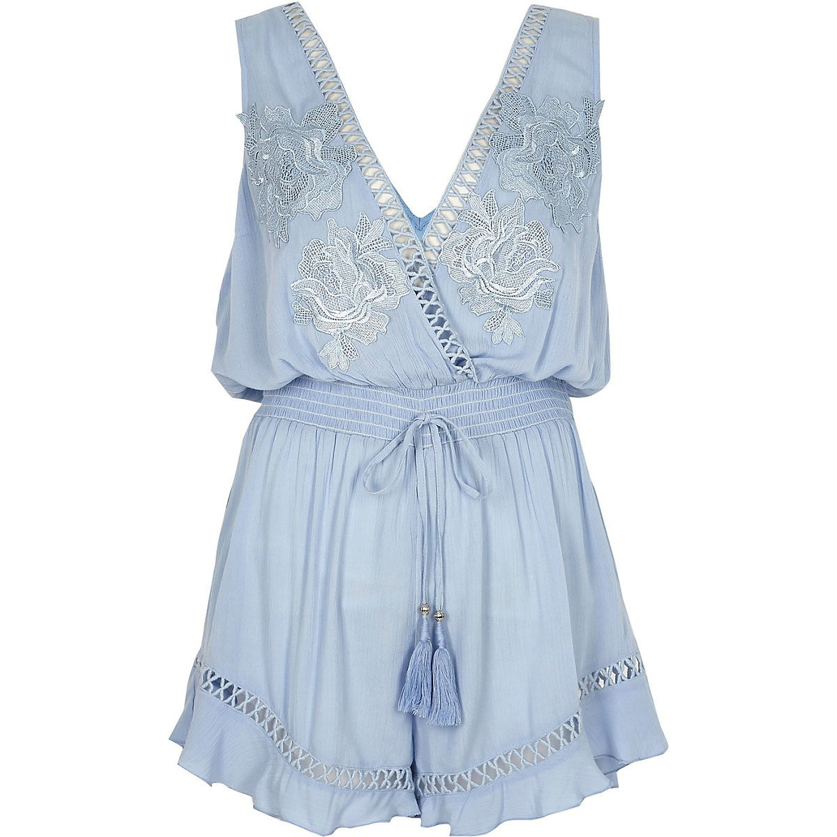 Blue applique beach romper - Caftans & Beach Cover-Ups - Swimwear & Beachwear - women