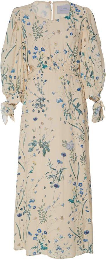 Smocked Floral Midi Dress