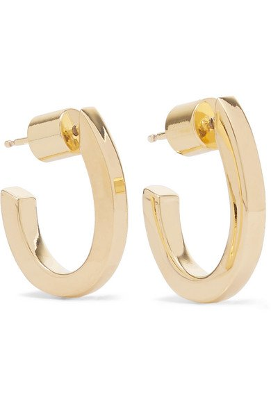 Jennifer Fisher | Square Huggies gold-plated hoop earrings | NET-A-PORTER.COM