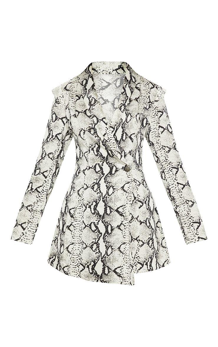 White Snake Print Woven Blazer Playsuit | PrettyLittleThing