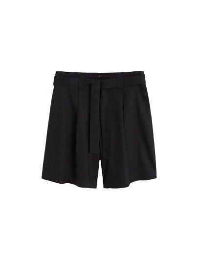 MANGO Linen-blend high-waist shorts