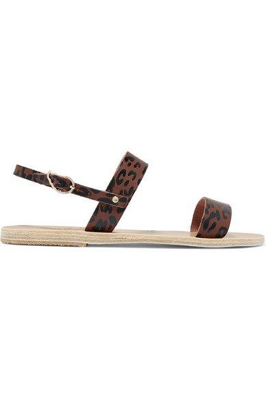 Ancient Greek Sandals   Clio leopard-print leather slingback sandals   NET-A-PORTER.COM