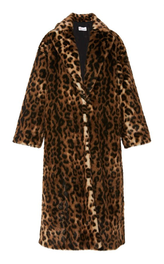 Oversized Leopard-Print Faux Fur Coat