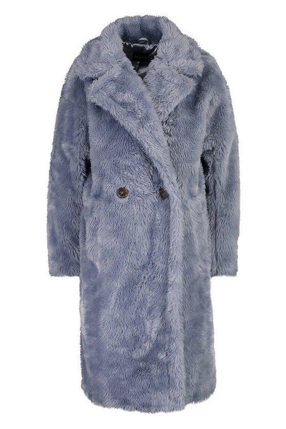 Oversized Teddy Faux Fur Coat | Boohoo blue