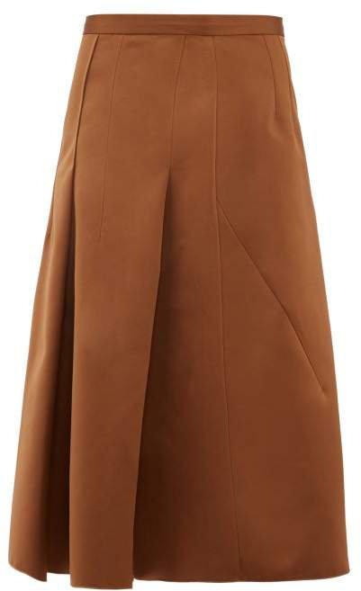 No. 21 - A Line Satin Skirt - Womens - Light Brown