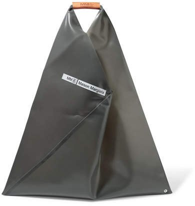 Leather-trimmed Pvc Tote - Charcoal