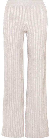 Striped Metallic Knitted Wide-leg Pants - Silver