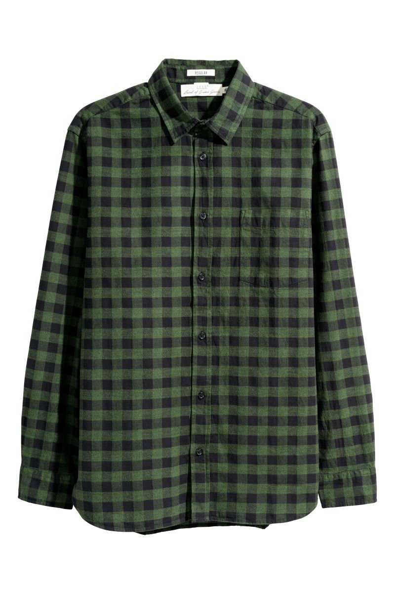 Flannel Shirt Regular Fit | Dark green/plaid | SALE | H&M US