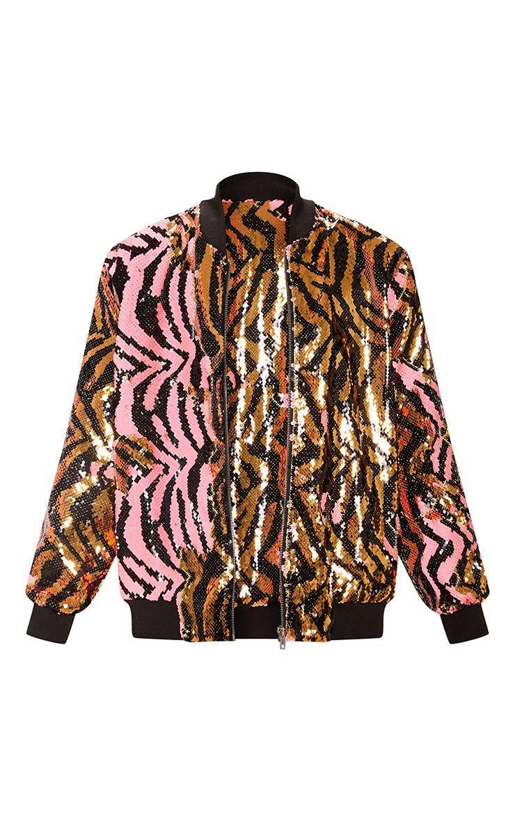 Gold Zebra Sequin Bomber Jacket | PrettyLittleThing