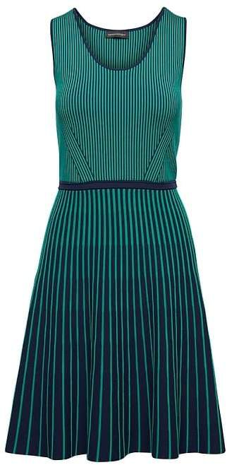 Stripe-Knit Fit-and-Flare Dress