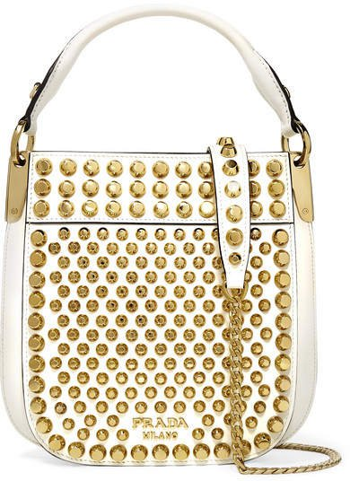 Margrit Studded Leather Shoulder Bag - White