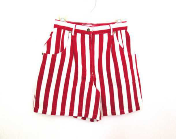Red and White Striped Shorts