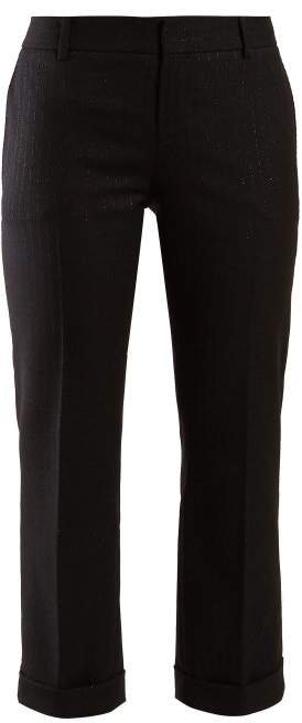 Metallic Stripe Wool Trousers - Womens - Black