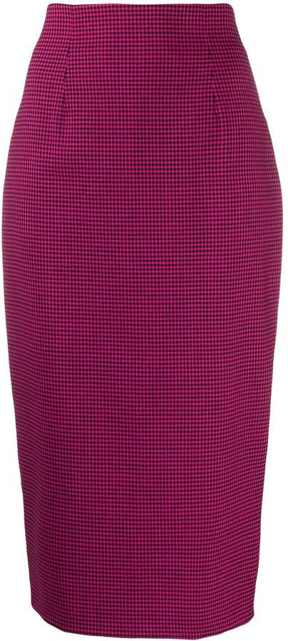houndstooth-print fitted pencil skirt