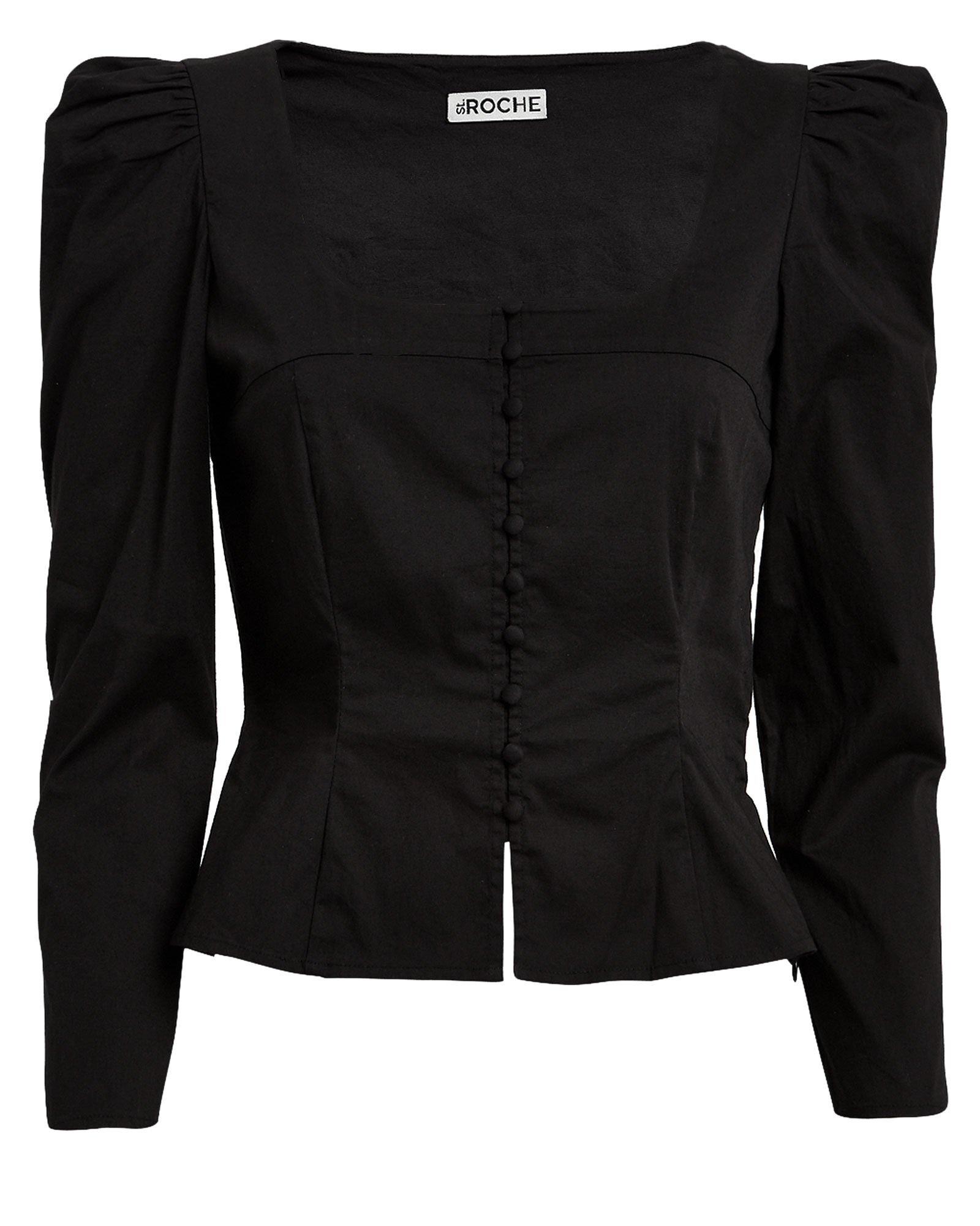 Sandrine Poplin Button Front Blouse