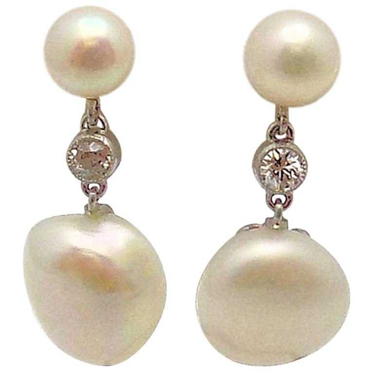 Pair of Antique Platinum Pearl and Diamond Pendant Earrings For Sale at 1stdibs