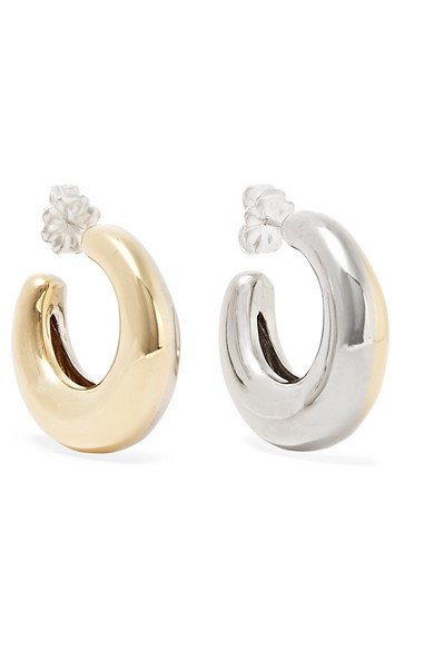 Leigh Miller   Two-Tone Bubble gold-tone and white bronze hoop earrings   NET-A-PORTER.COM
