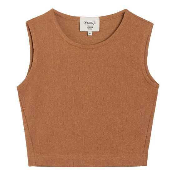 Samuji Brown Pepita Top (9.155 RUB) ❤ liked on Polyvore featuring tops, sleeveless crop top, sleeveless tops, brown crop top, cut-out crop tops and brown sleeveless top