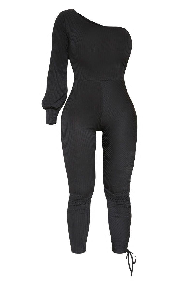 Black Ribbed Ruched One Shoulder Jumpsuit | PrettyLittleThing