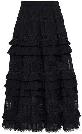 Tiered Lace-paneled Cotton Midi Skirt